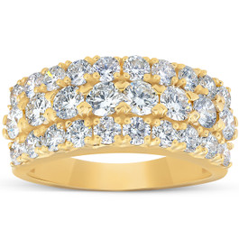 2 3/4 Ct Diamond Anniversary Ring EX3 Lab Grown 14k Yellow Gold ((H-I), SI(1)-SI(2))