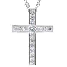 "1 1/2 Ct Diamond Cross Pendant Necklace 18"" 10k White Gold 32mm Tall (G/H, I1)"