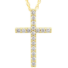 "1/3 Ct Diamond Cross Pendant Necklace 18"" 10k Yellow Gold 21mm Tall (G/H, I1)"