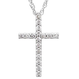 "1/3 Ct Diamond Cross Pendant Necklace 18"" 10k White Gold 21mm Tall (G/H, I1)"