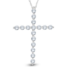 "5/8 Ct Diamond Cross Pendant Necklace 18"" 10k White Gold 1"" Tall (G/H, I1)"