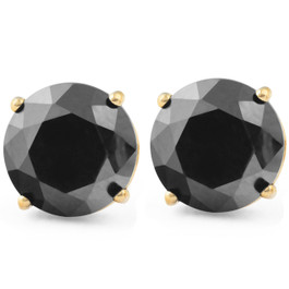 2 1/4Ct Black Diamond Studs 14k Yellow Gold Earrings (Black, AAA)