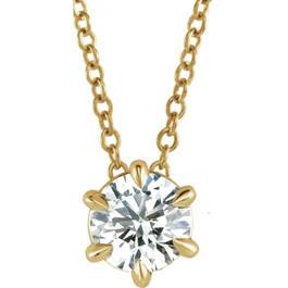 14K Yellow Gold 1/4ct Solitaire EX3 Lab Grown Diamond Pendant Necklace (G,H-SI) (((G-H)), SI(1)-SI(2))