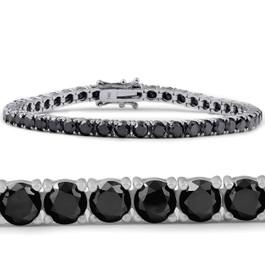 "11 1/2 Ct Black Diamond Tennis Bracelet 14k White Gold 7"" (Black, I2-I3)"
