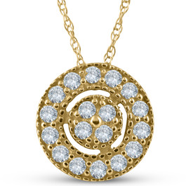 "1/4 ct Diamond Pave Halo Pendant Yellow Gold Womens Necklace & 18"" Chain (J-K, I2-I3)"