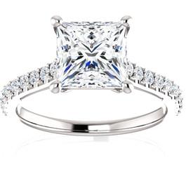 2 3/4 Ct Princess Cut Diamond Engagement Ring 14k White Gold (H/I, I1-I2)