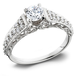 5/8 Ct Vintage Engagement Ring EX3 Lab Grown 14k White Gold (H-I,SI2-I1) ((H-I), SI(2)-I(1))