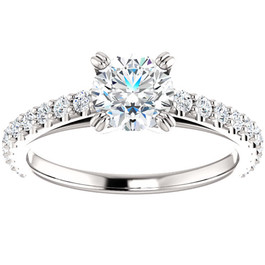 1 Ct Lab Grown Diamond Engagement Ring 14k White Gold (H-I,SI2-I1) ((H-I), SI(2)-I(1))