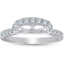 1/2 Ct Diamond Curved Notch Wedding Ring Matching Engagement Band 14k White Gold (H/I, I1)