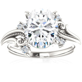 2 1/5 Ct Oval Moissanite & Lab Grown Diamond Engagement Ring 14k White Gold (G/H, VS1-VS2)
