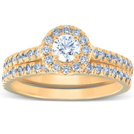 1Ct Halo Lab Grown Diamond Engagement Matching Wedding Ring Set 14k Yellow Gold ((H-I), I(1))