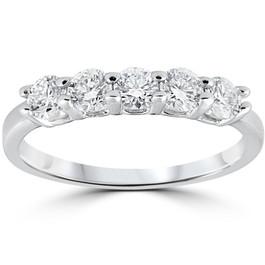 1/2Ct Moissanite Five Stone Wedding Ring in White, Yellow, or Rose Gold (((G-H)), VS1-VS2)