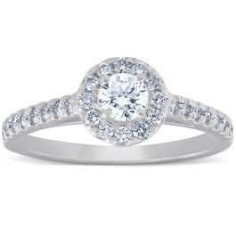 3/4 Ct Halo Round Diamond Engagement Halo Ring 10k White Gold (G/H, I1-I2)