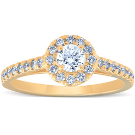 3/4 Ct Halo Round Diamond Engagement Halo Ring 10k Yellow Gold (G/H, I1-I2)