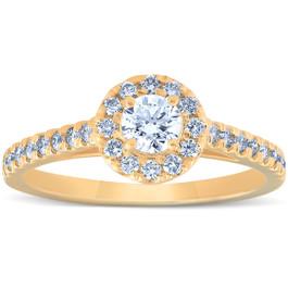 3/4 Ct Halo Round Diamond Engagement Halo Ring 10k Yellow Gold (G/H, I1-I2)