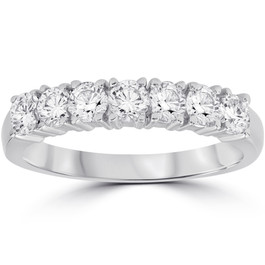 3/4 Ct Lab Grown Diamond EX3 7-Stone Wedding Ring 14k White Gold (((G-H)), SI(1)-SI(2))