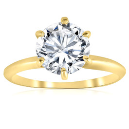 2ct Solitaire Moissanite Engagement Ring Round Brilliant 14k Yellow Gold (G/H, VVS1)