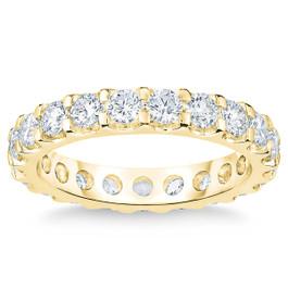 2 Ct Moissanite Eternity Ring Womens Wedding Band 14k Yellow Gold (((G-H)), VS1-VS2)