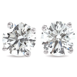 G/VS 3 Ct TW Round Moissanite Screw Back Studs 14k White Gold (G, VS)