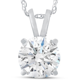 3 Ct Moissanite Solitaire Pendant 14k White Gold Womens Necklace