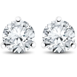 2 ct TDW Diamond 3-Prong Martni Studs in 14k White Yellow Rose Gold or Platinum (F, SI1)