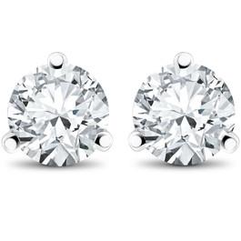 2 ct TDW Diamond 3-Prong Martni Studs in 14k White Yellow Rose Gold or Platinum (F, SI1)