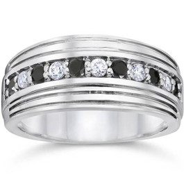 Mens 10k White Gold Alternating Black & White Diamond 1/2ct Wedding Ring (G/H, I2-I3)