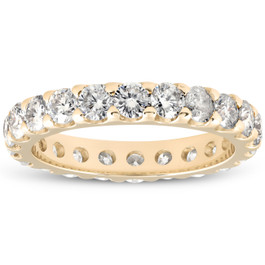 2Ct Didamond Eternity Ring 10k Yellow Gold U Prong Stackable Wedding Band (H/I, I1-I2)
