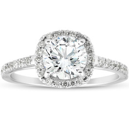 1 3/4Ct Moissanite Lab Grown Diamond Cushion Halo Engagemeng Ring 14k White Gold (G/H, VS1-VS2)