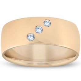 Mens Three Stone Diamond Ring 10k Yellow Gold High Polished 7mm (H, I1-I2)
