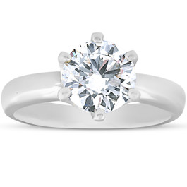 1 3/4Ct Diamond Solitaire Engagement Ring 14k White Gold 6-Prong (G/H, SI2-I1)