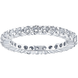 1 Ct Diamond Eternity Ring 10k White Gold Womens Wedding Band (G/H, I2-I3)
