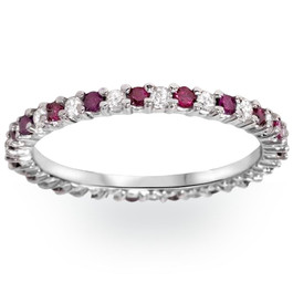 1/2Ct Ruby & Diamond Eternity Wedding Ring 14k White Gold Womens Band (G/H, I2-I3)