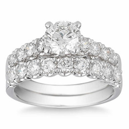 3 1/2 Ct Diamond Engagement Wedding Ring Set White Gold (H/I, I1-I2)