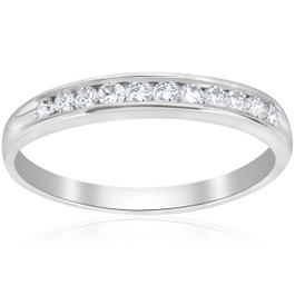 1/4 Ct Diamond Wedding Ring Channel Set 10k White Gold (I/J, I2-I3)