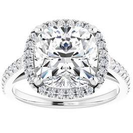 3 1/2 Ct Cushion Moissanite & Lab Diamond Engagement Halo Ring 10k White Gold (G/H, VS1-VS2)