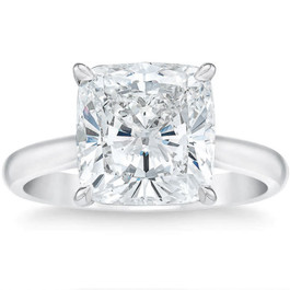 3.30Ct Cushion Moissanite Solitaire Engagement Ring 14k White Gold (G/H, VVS1-VVS2)