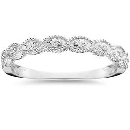 1/10 Ct Lab Grown Diamond Wedding Ring Vintage 14k White Gold (H/I, I1)