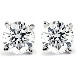 Platinum 1 Ct TDW Certified Diamond Studs (KL, I2-I3)
