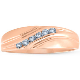 Mens Rose Gold 1/4 Ct Diamond Wedding Band High Polished Ring (I/J, I2-I3)
