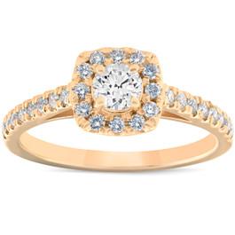 3/4 Ct Diamond Cushion Halo Engagement Ring 14k Yellow Gold Lab Grown ((H), (I1))
