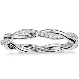 1/3 Ct Diamond Eternity Petite Twist Eternity Ring 10k White Gold (G/H, I1-I2)