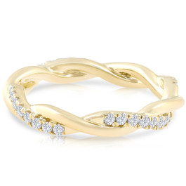 1/3 Ct Diamond Eternity Petite Twist Eternity Ring 10k Yellow Gold (G/H, I1-I2)