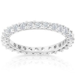 1 Ct TDW Diamond Eternity Wedding Ring 10k White Gold (G/H, I1-I2)