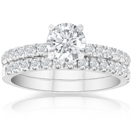 1 3/4 Ct Diamond Engagement Wedding Set 14k White Gold (G/H, SI1-SI2)