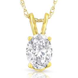 1/2Ct Certified Lab Grown Oval Diamond Solitaire Pendant Yellow Gold Necklace ((E), VVS2)