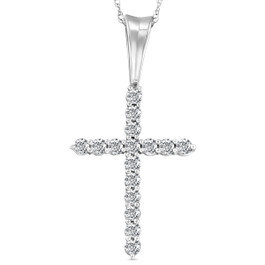 "1/2 Ct Diamond Cross Pendant Necklace 18"" White Gold (G/H, I1)"