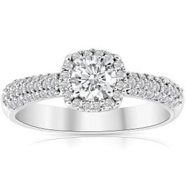1ct Cushion Halo Round Diamond Pave Engagement Ring 10k White Gold (G/H, I2-I3)