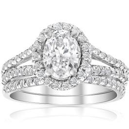 1.75Ct Oval Diamond Split Halo Engagement Wedding Ring Set White Gold Enhanced (G/H, SI1-SI2)