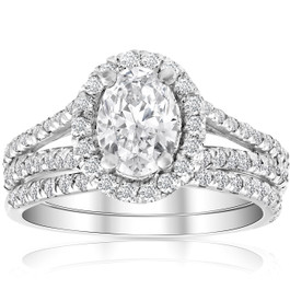 1.75Ct Diamond & Oval Moissanite Engagement Wedding Ring Set 14k White Gold (G/H, SI1-SI2)